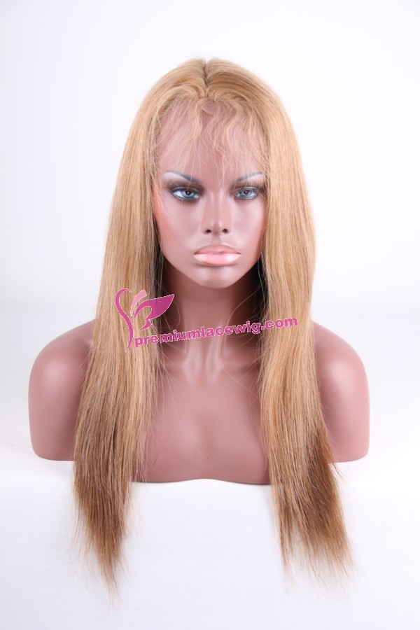 Fashion blonde human hair full lace wig PWS128