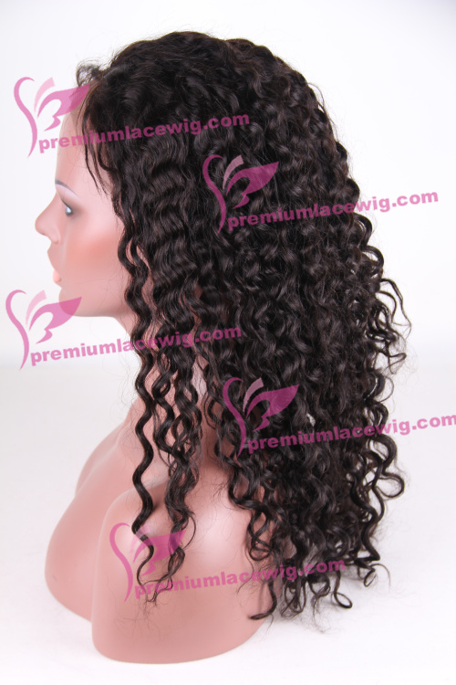 18 inch color 2 Peruvian virgin hair curly full lace wig PWA-660