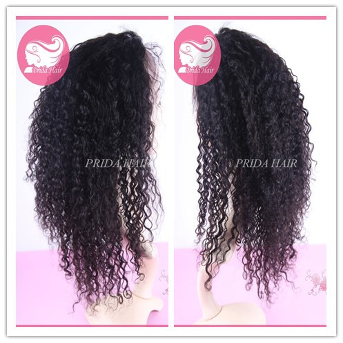 16 inch color 1b indian remy hair curly full lace wig PWA-581
