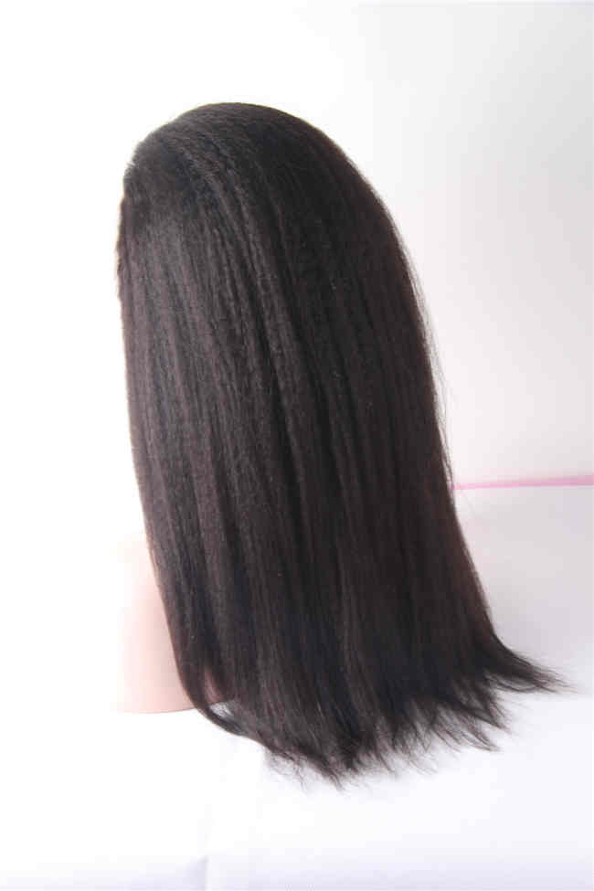20inch natural color Brazilian human hair Kinky Straight Full Lace Wigs
