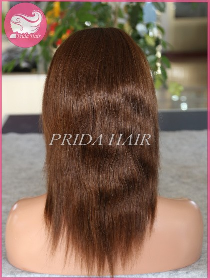 12 inch color 3 Peruvian hunman hair Full Lace Wigs