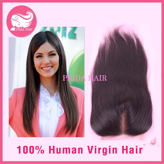 16 inch Straight 4x4 Middle Part Peruvian Virgin Hair Lace Closure
