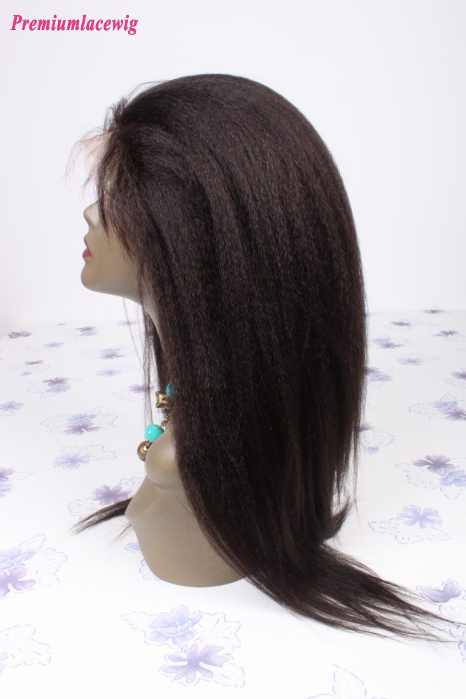 kinky straight lace front wig Brazilian hair 20inch