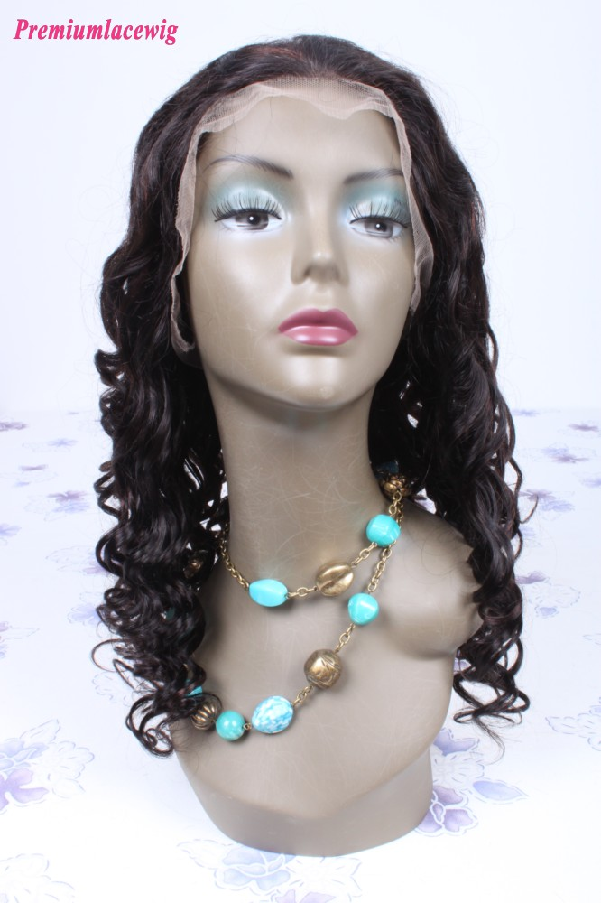 18inch color1B highlight#33 Mongolian hair curly lace front wig