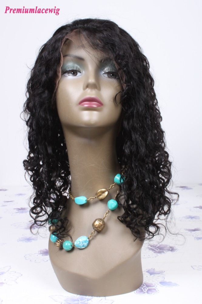 18inch natural color Brazilian hair waterwave lace front wig