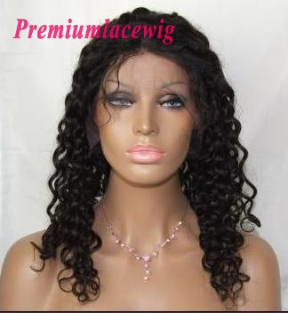 16inch natral color Brazilian hair waterwave lace front wig