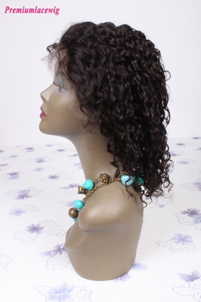 12inch natural color Brazilian hair curly lace front wig