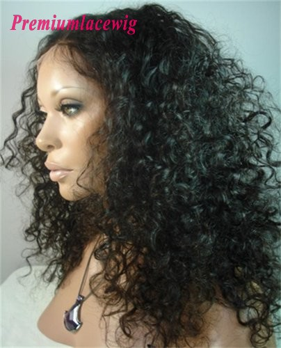 Deep Curly lace front wig wholesale Brazilian hair 18inch