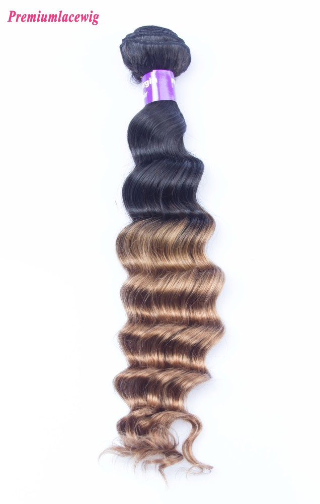 16 inch Loose Wave Ombre Three Tone Hair 1B/30 Malaysian Hair Human Hair Bundles