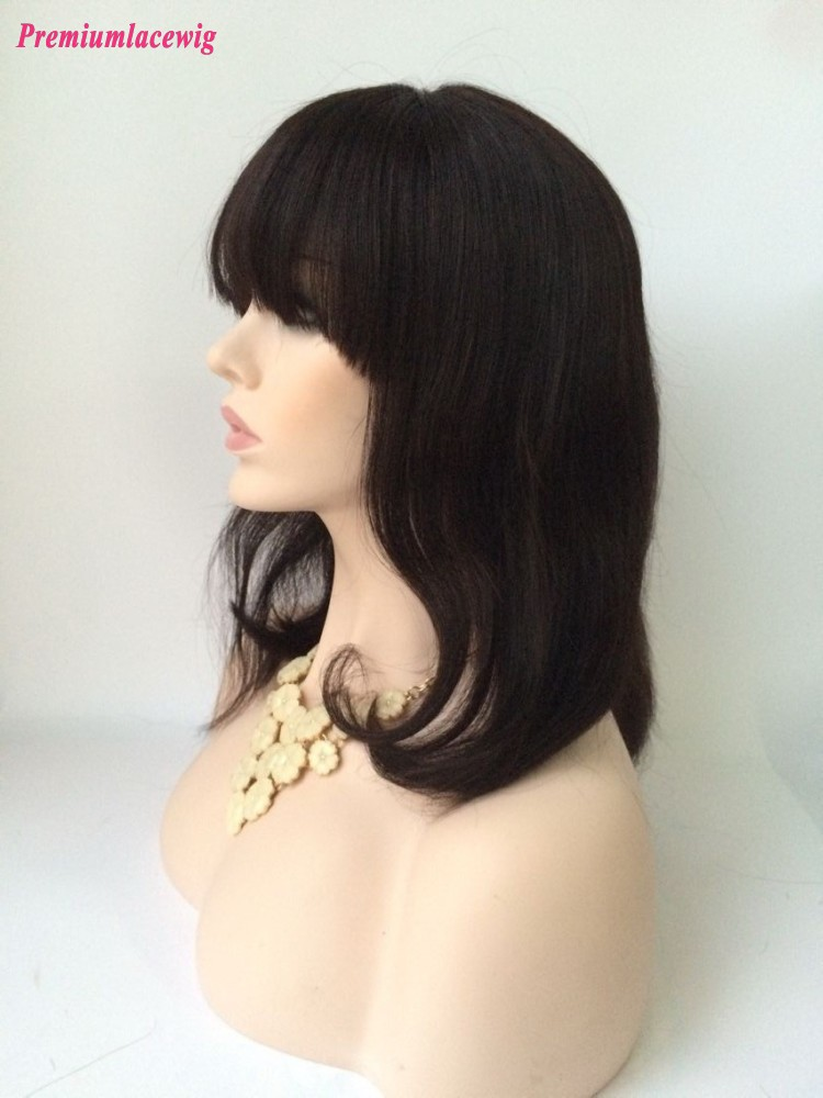Bang 10inch BoB Natural Color Straight Full Lace Wig Brazilian Virgin Hair