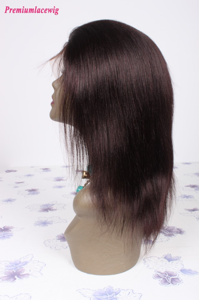 12inch Straight Chinese Virgin Hair Full Lace Wigs Color 1B