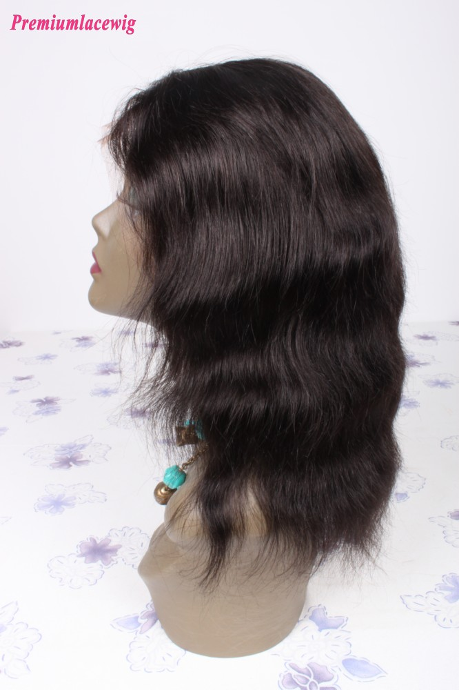 Color 1B Natural Wave Brazilian Virgin Hair Full Lace Wig 10inch