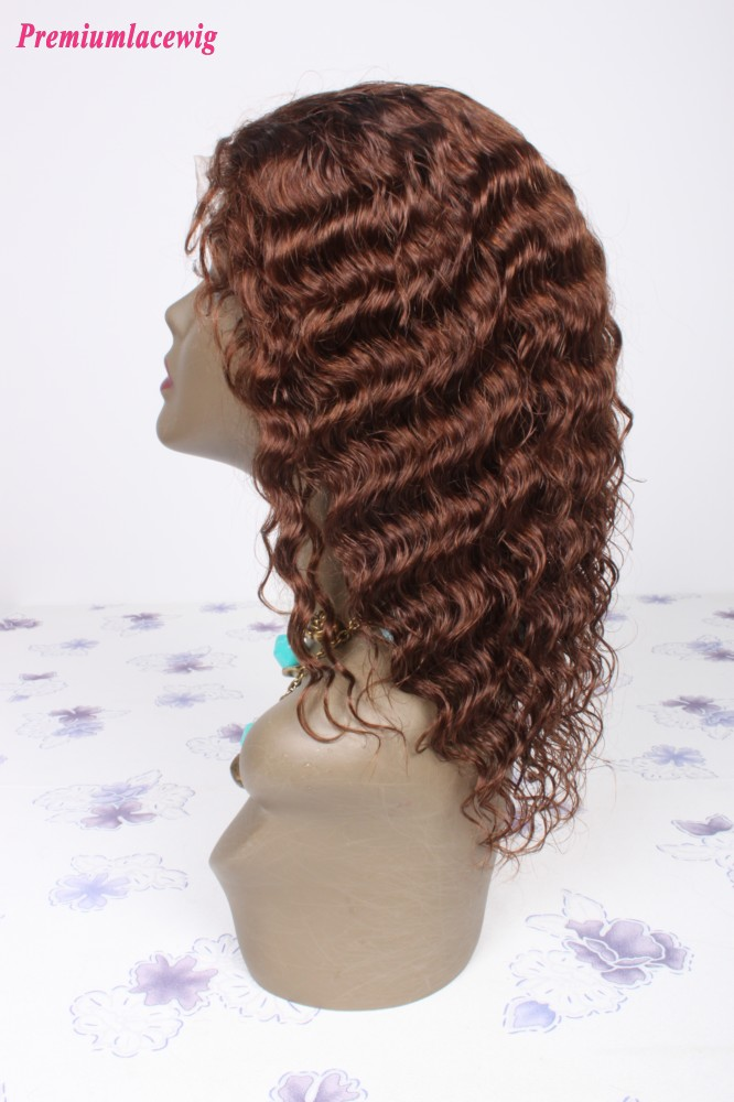Color 4 Indian Virgin Hair Full Lace Human Hair Wigs Deep Wave 10inch