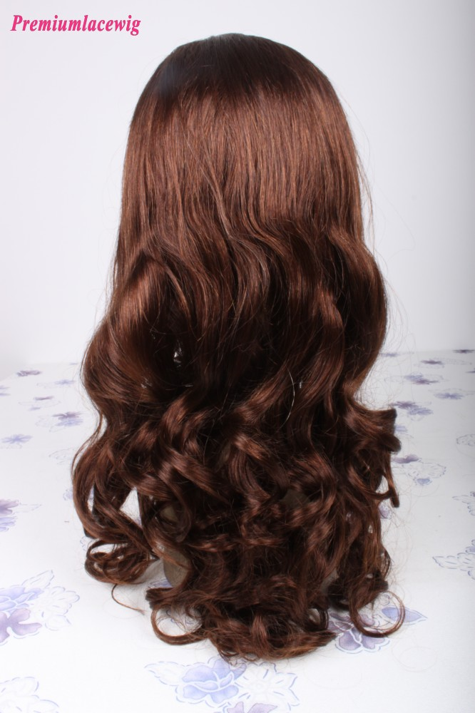 22inch Spirl Curl Brazilian Virgin Human Hair Full Lace Wig Color 4