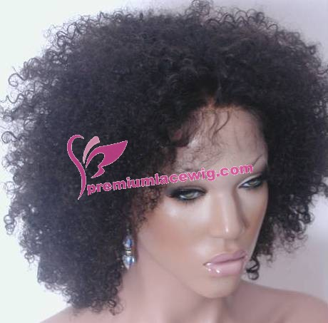 14inch 1b# kinky curl full lace wig PWS377