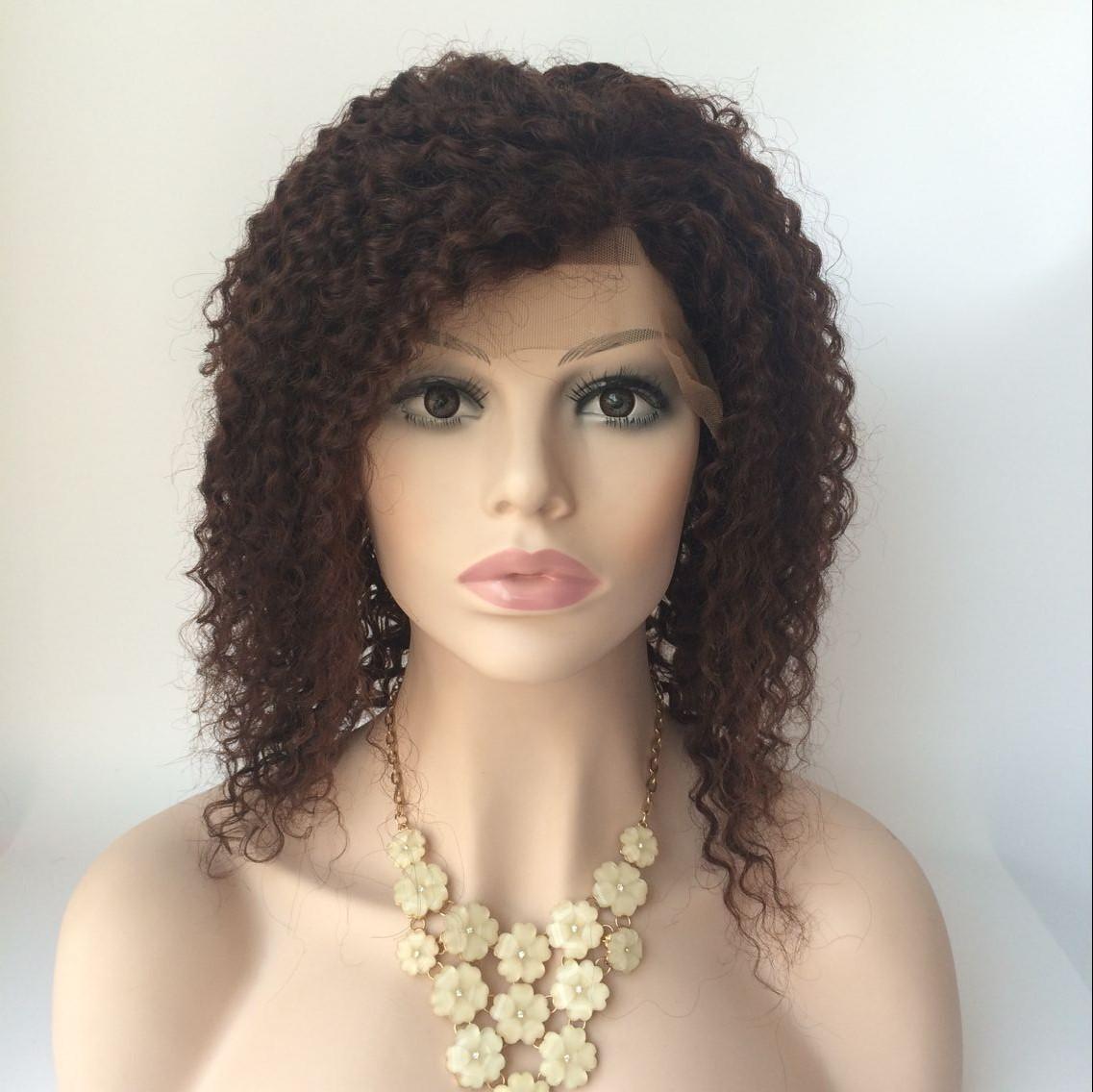 14inch color2 Brazilian hiar curly lace front wig