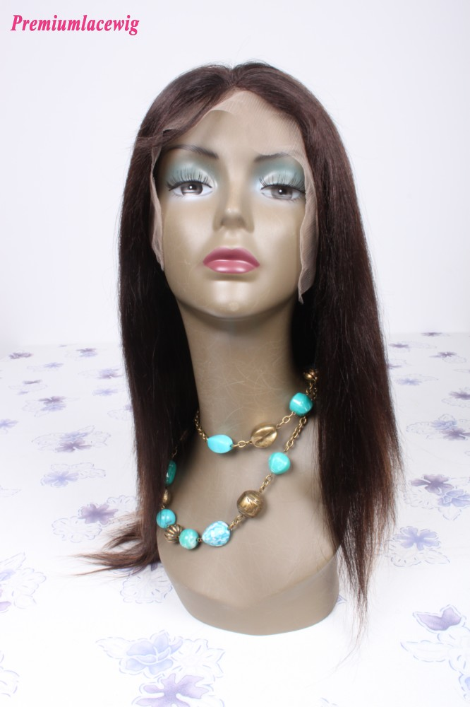 14inch color2 highlight#30 Mongolian hair straight lace front wig