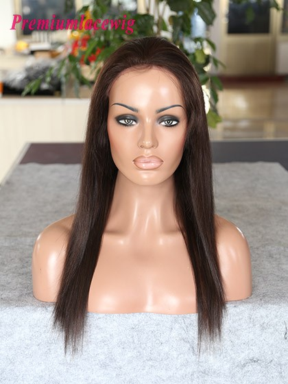 Peruvian virgin hair straight lace front wig 16inch color 1B