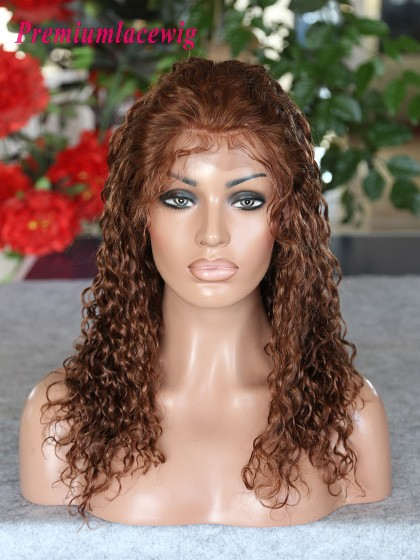 Peruvian curly hair lace front wig 16inch Color 4