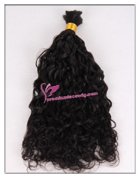 16inch natural color curly brazilian bulk hair extension PWL102