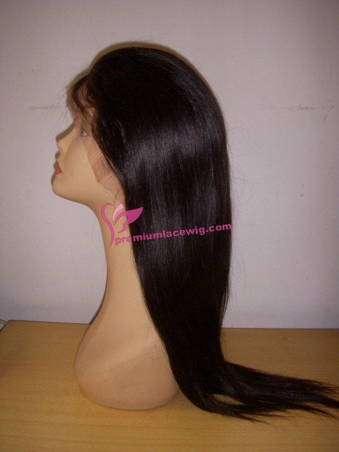 18inch 1b# straight european virgin hair full lace wig PWS362