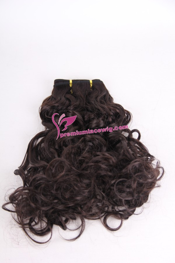 18inch 2# curly hand made hair weft PWC296