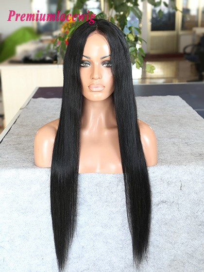 24inch color1 Mongolian human hair straight lace front wig