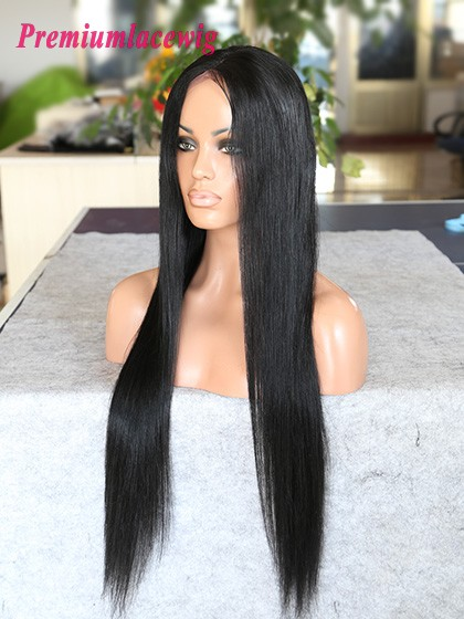 18inch color1 mongolian human hair straight lace front wig