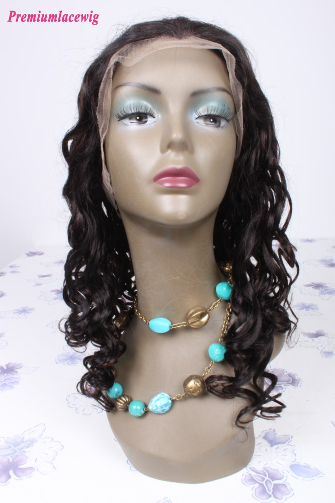 18inch color1B highlight#33 Malaysian hair curly lace front wig