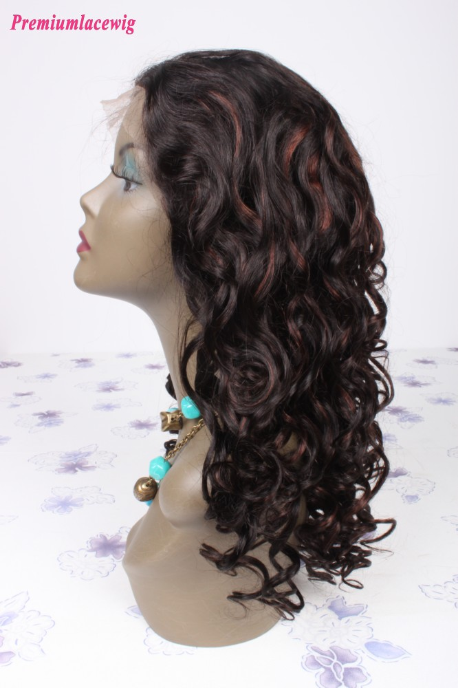 18inch Color1b Highlight33 Malaysian Hair Curly Lace Front Wig
