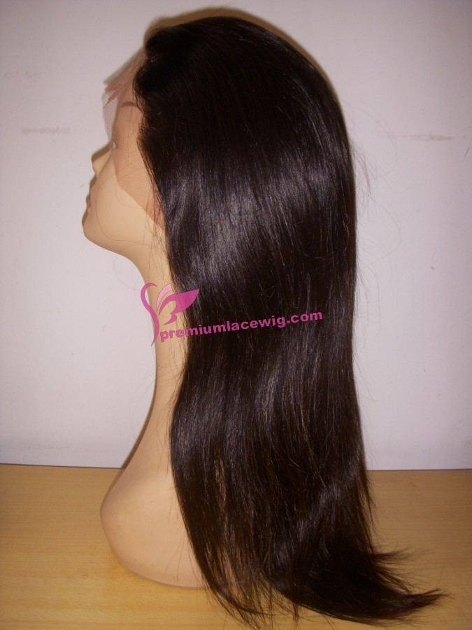 18inch malaysian hair natural color full lace wig PWS363