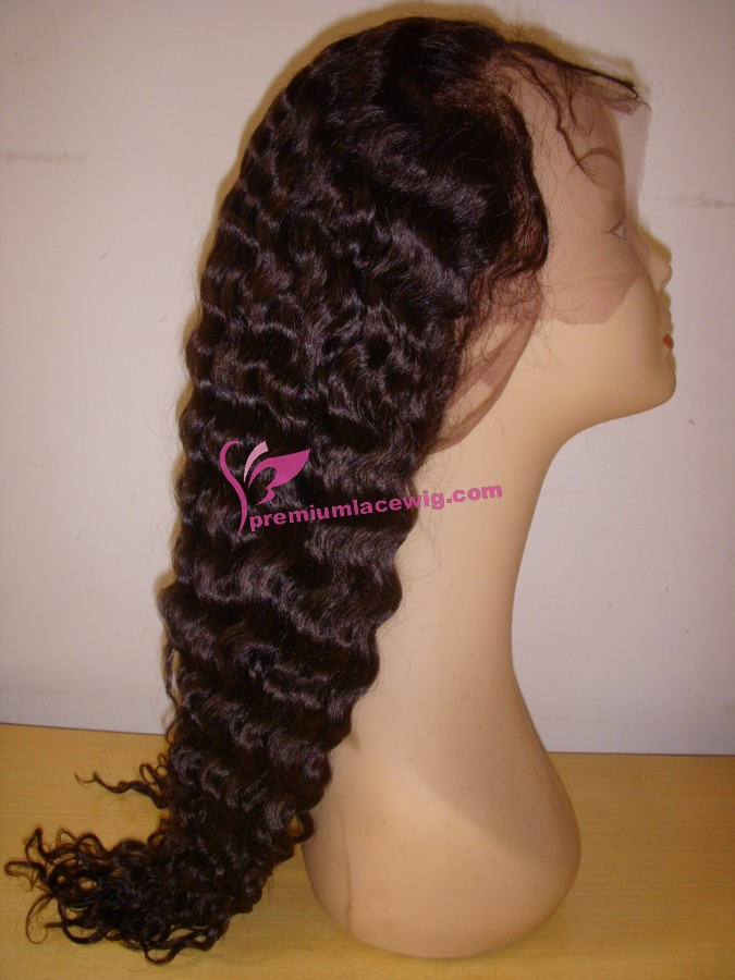 18inch natural color deep wave full lace wig PWS355