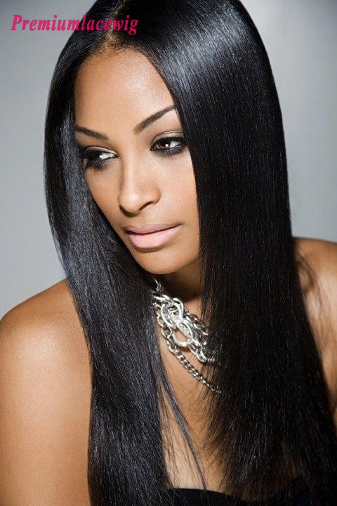 18inch Yaki Straight Brazilian Full Lace Wig Natural Color