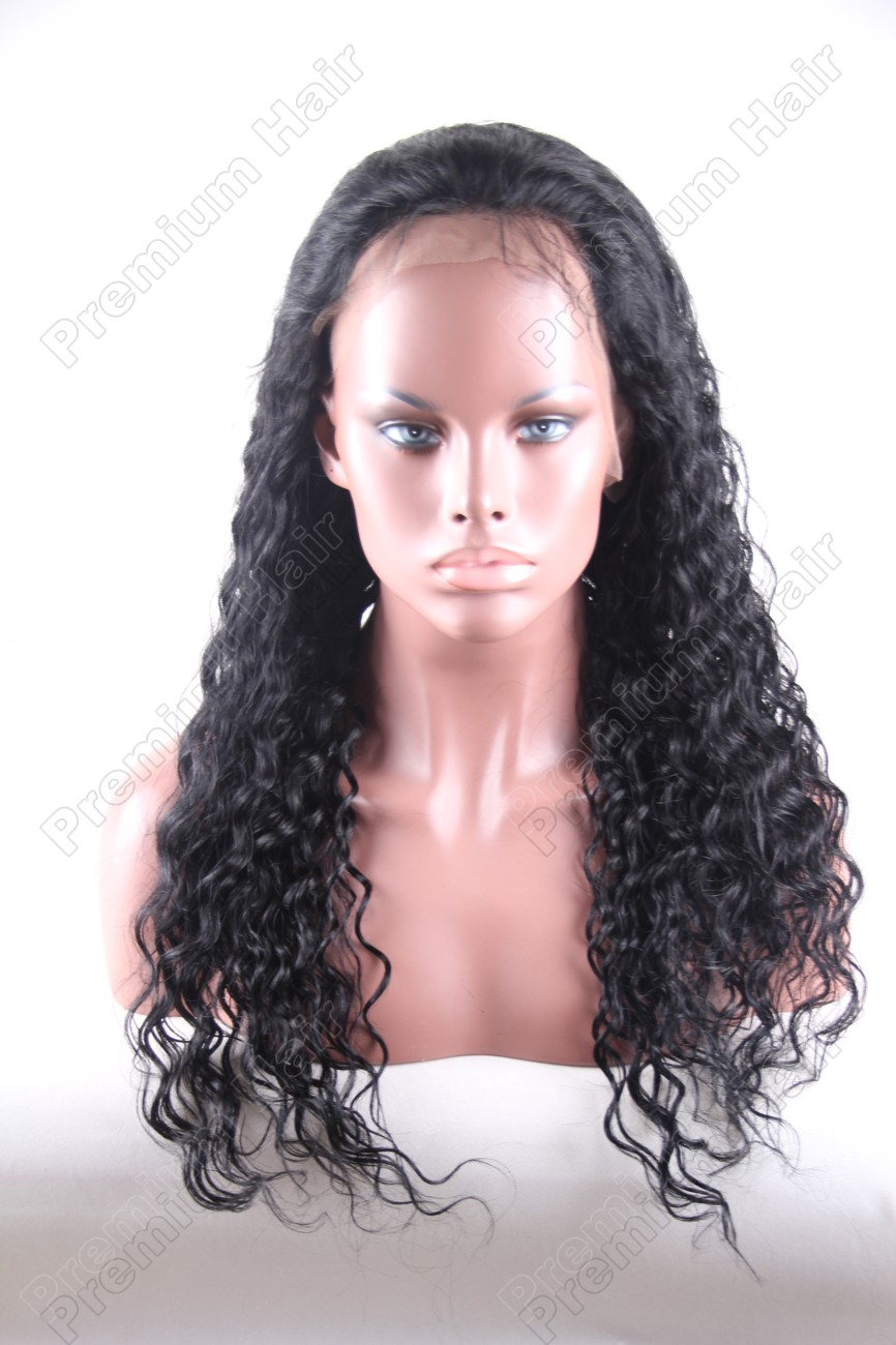 20 inch color 1 water wave indian remy hair full lace wig PWA-661