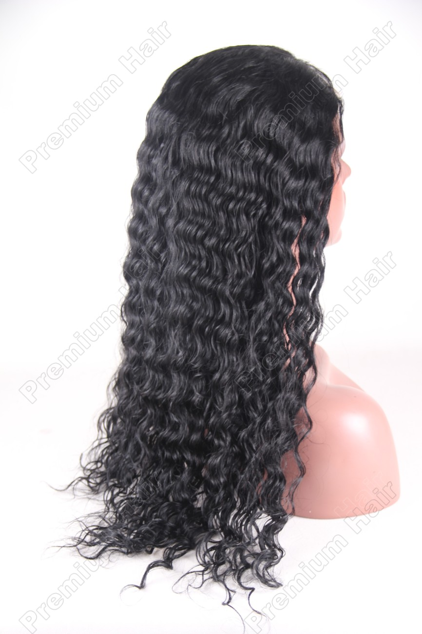 20 inch color 1 water wave indian remy hair full lace wig