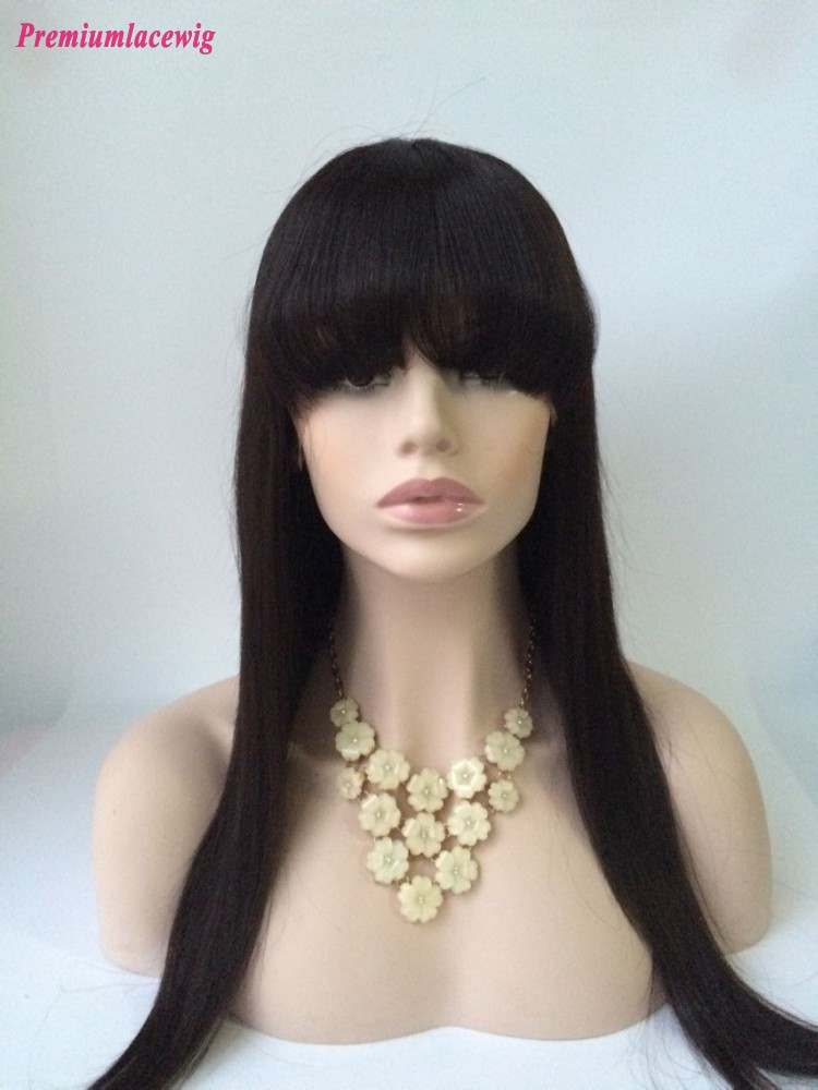 20inch Natural Color Straight Malaysian Virgin Hair Full Lace Wig with Bang