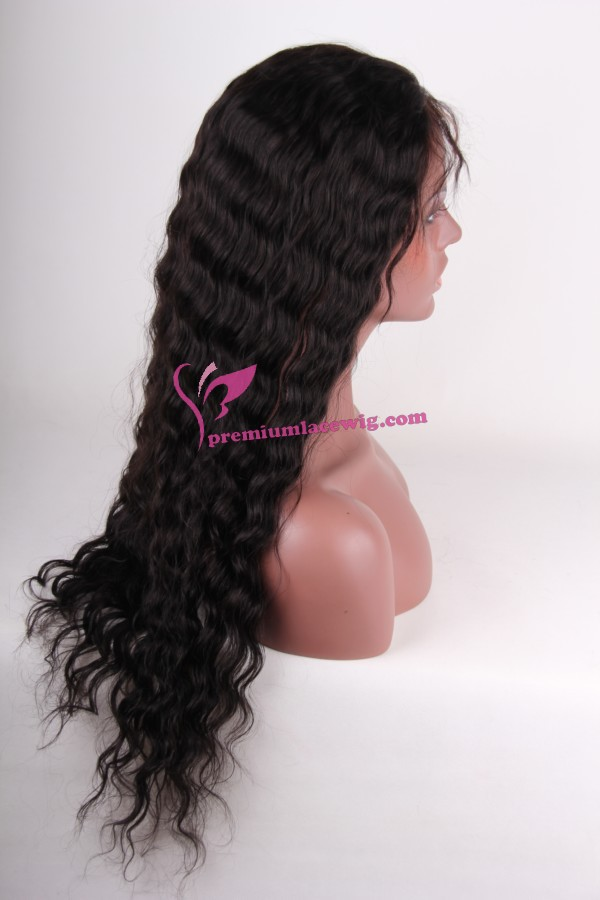 22inch color1B Malaysian hair deepwave lace front wig