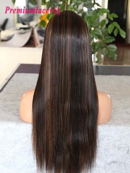 24inch Straight Full Lace Wig Brazilian Color 1B Highlite 30