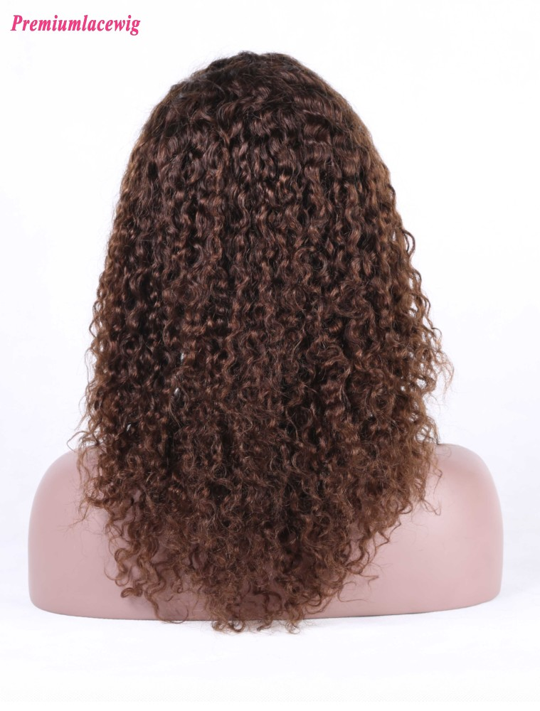 Afro Curly Malaysian Silk Top Full Lace Wigs Color4 18inch