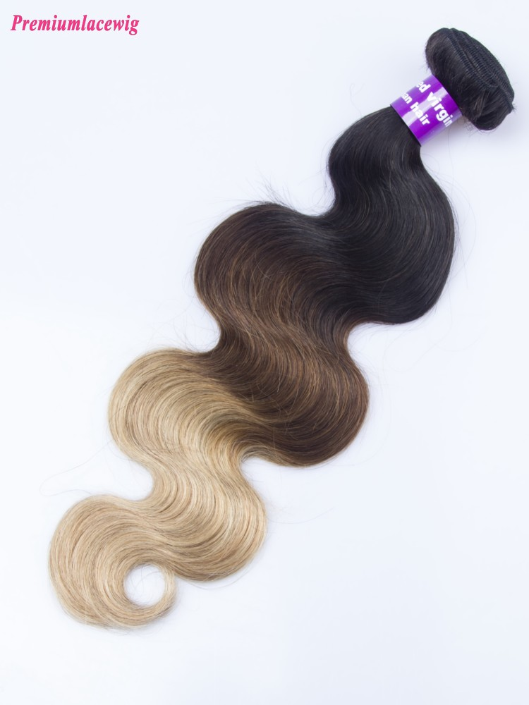 Brazilian Ombre Three Tone Hair Body Wave Human Hair Bundles 16inch