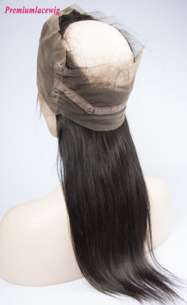 Cheap Straight 360 Lace Frontal With Adjustable Strap Brazilian Hair 16inch