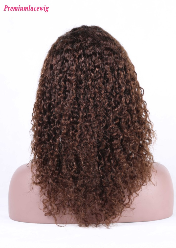 Deep Curly Silk Base Lace Front Wig Peruvian Hair Color 4 16inch