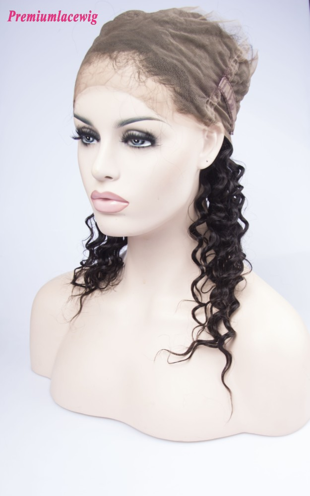 Deep Wave Mongolian Hair 360 Lace Frontal 16inch