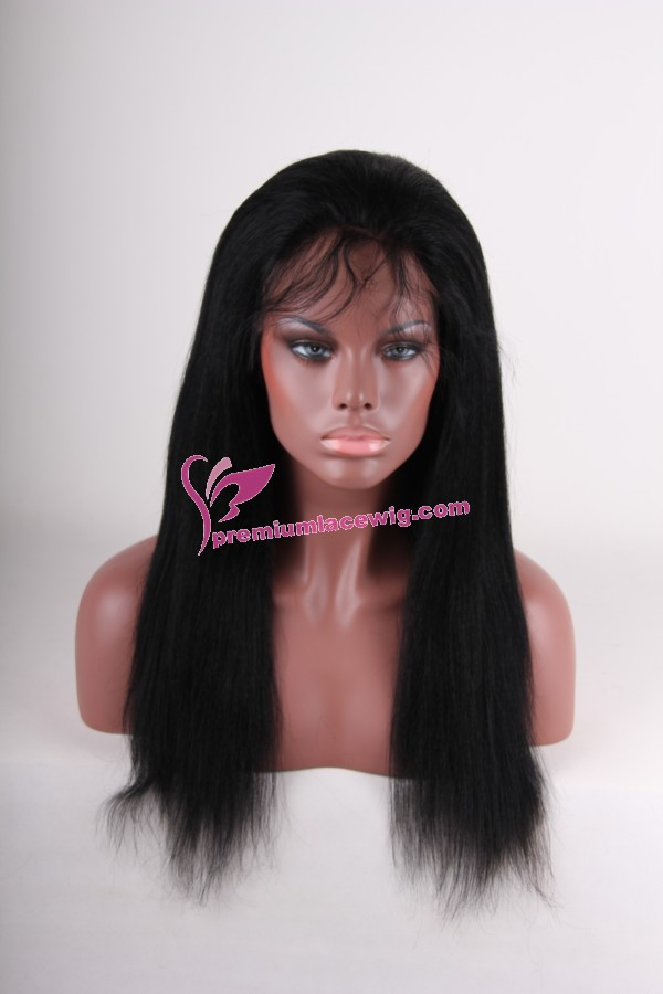 Malaysian Hair full lace wig kinky straight 16inch Instock