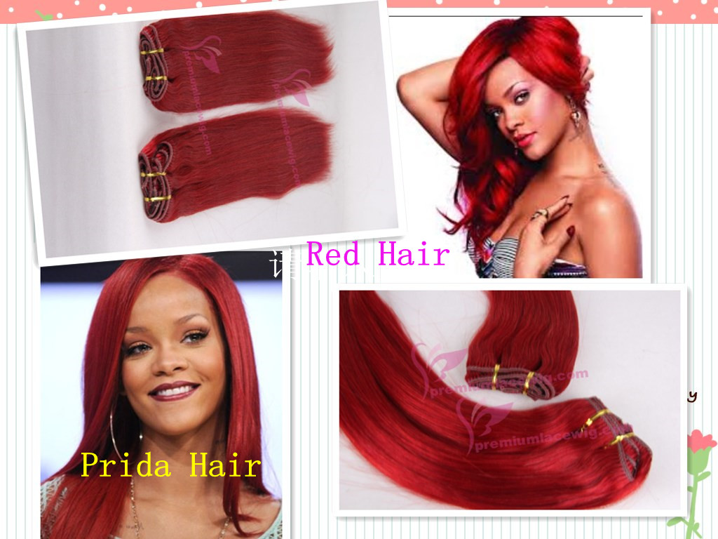 Grade AAAAA 10-30 inch straight red brazilian hair weave PWA-594