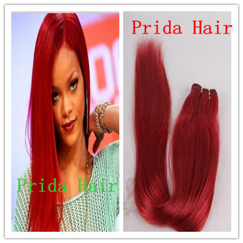 high quality 10-28 inch virgin malaysian red human hair weaving, no tangle PWA-593