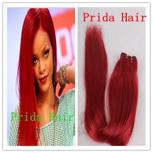high quality 10-28 inch virgin malaysian red human hair weaving, no tangle PWA-593