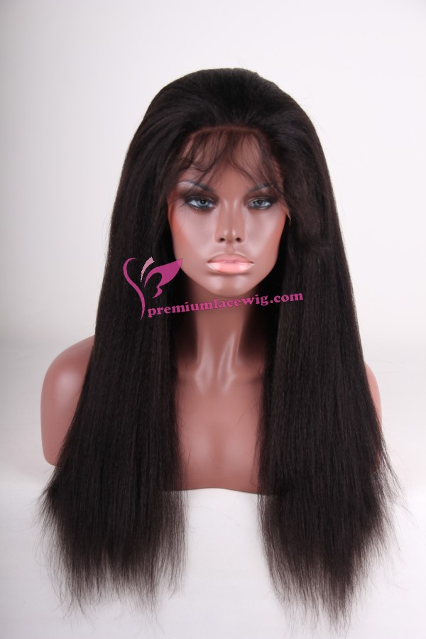 18 inch Kinky straight indian remy hair lace wig
