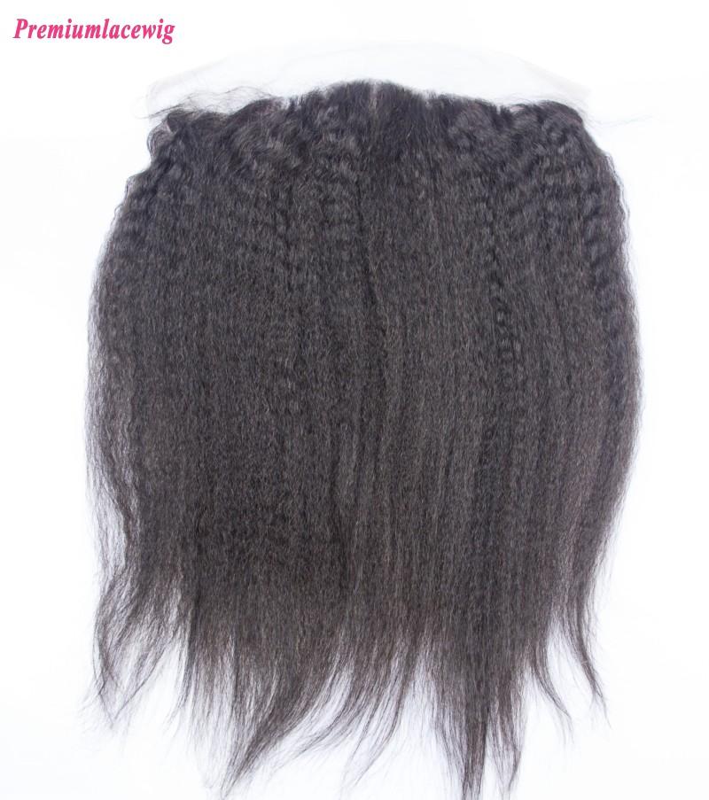 Kinky Straight Lace Frontal Brazilian Hair 13X4 12inch