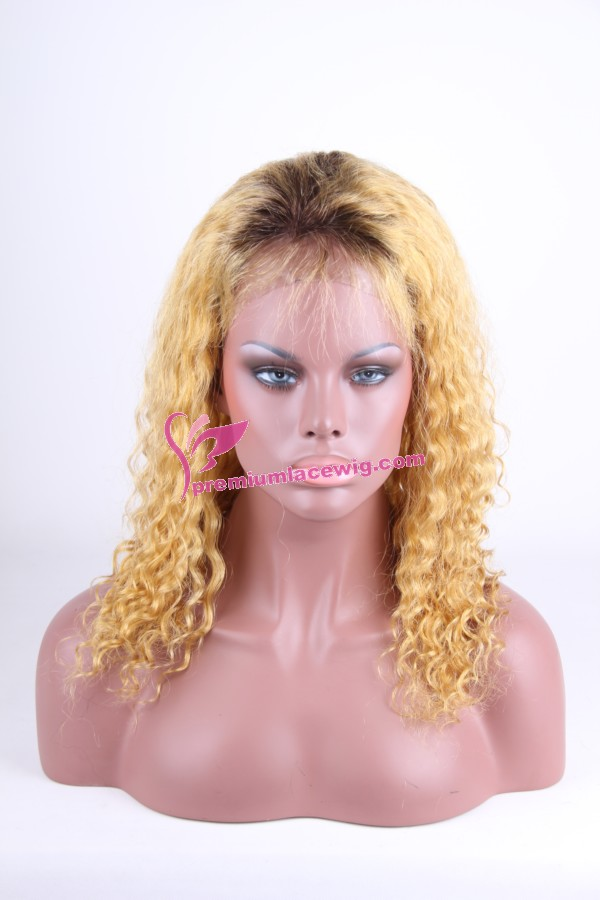 Mongolian hair root color full lace wig in blonde PWC051